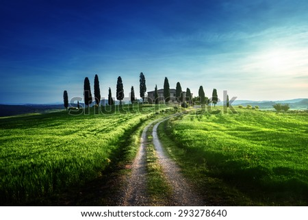 Classic Tuscan views in spring sunset time,  Pienza, Italy - stock photo