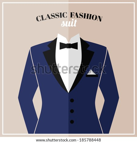 Classic tuxedo suit with bow and black collar for elegant man  illustration