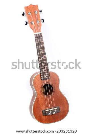 Classic ukulele Hawaiian guitar, studio shot isolated on white background - stock photo