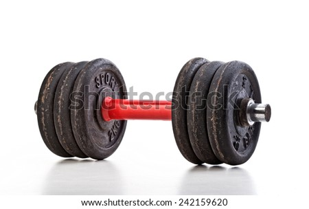 classic used barbell isolated on white background