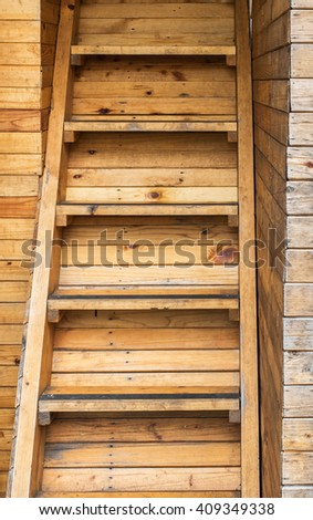 Classic Used Old Brown Panel Wood Plank Stair Texture Background for Room Interior - stock photo