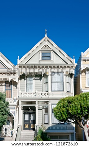 Classic victorian house in San Francisco, California, USA - stock photo