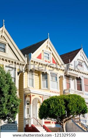 Classic victorian houses in San Francisco, California, USA - stock photo