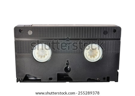 Classic Video tape isolated on white background, clipping path included. - stock photo