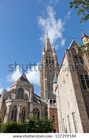 Classic view of Bruges. Belgium. Medieval fairytale city. Summer urban - stock photo