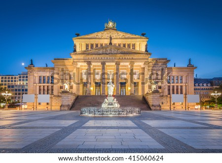 Classic view of famous Berlin Concert Hall at historic Gendarmenmarkt square in twilight during blue hour at dusk in summer, Berlin Mitte district, Germany - stock photo
