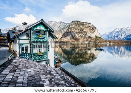 Classic view of Hallstatt village in Alps, Austria