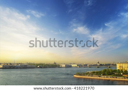 Classic view of Saint-Petersburg river scape at sunset, Church of the Savior on Spilled Blood (Cathedral of the Resurrection of Christ) St. Isaac's Cathedral and the Troitskiy Bridge Travel background - stock photo