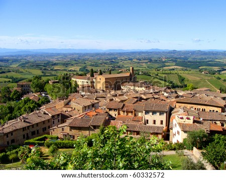 Classic view of Tuscany from San Gimignano - stock photo
