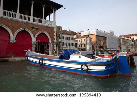Classic view of Venice with Grand canal and old buildings - stock photo