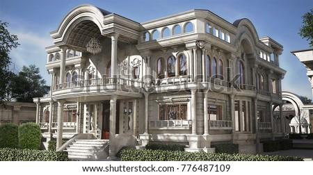Classic Villa 3d Rendering Design Stock Illustration 776487109 Shutterstock