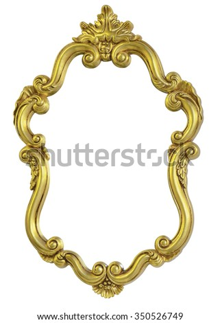 classic vintage antique gilded frame isolated on black background with clipping path