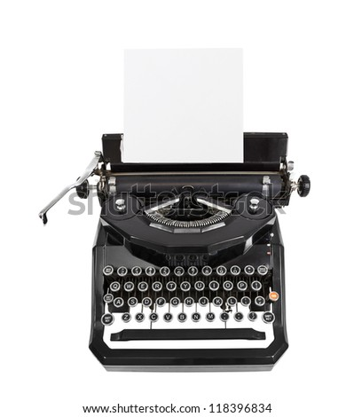 Classic vintage black typewriter isolated with paper. - stock photo