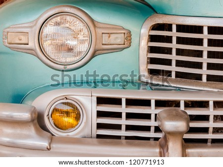 Classic Vintage car Front Grill and Headlight detail