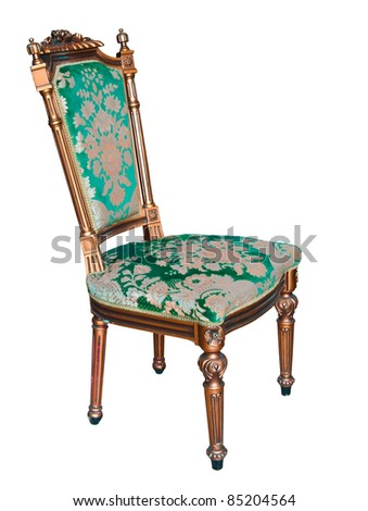 classic vintage chair Isolated on white background - stock photo