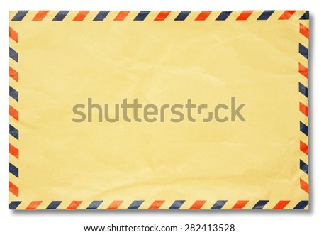 Classic vintage envelope with shadow isolated on white - stock photo