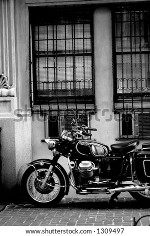 classic vintage motorcycle from the 1960s  in New York city - stock photo