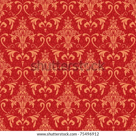 classic wallpaper with Victorian ornament, red and gold - stock photo