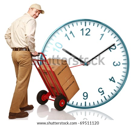 classic watch and delivery man with handtruck - stock photo