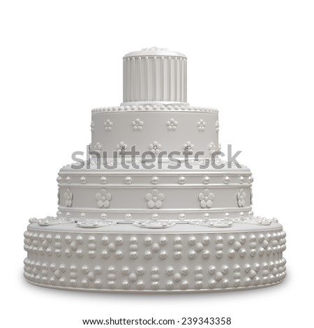 classic wedding cake isolated on white background. High resolution 3d - stock photo