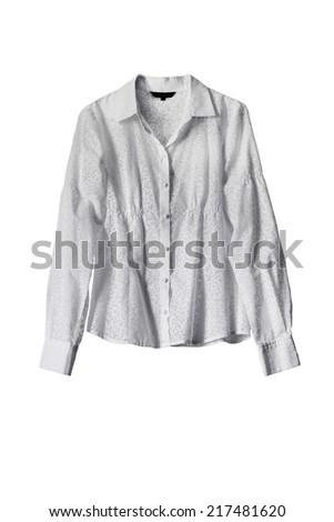 Classic white blouse isolated over white - stock photo