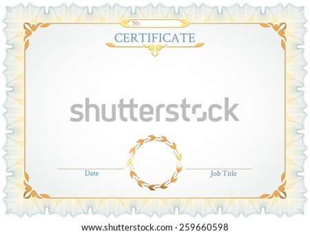 Classic white horizontal certificate with a guilloche pattern, vintage decorative elements and frame with space for stamp seal and congratulatory text - stock photo