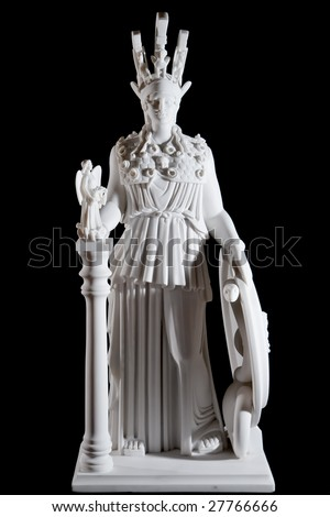 Classic white marble statue of Athena isolated on black background