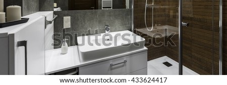 Classic white sink in modern design bathroom, panorama