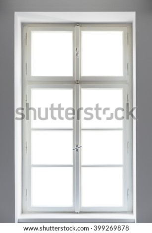Classic window on white background - stock photo