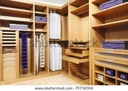 classic wood modern closet background - stock photo
