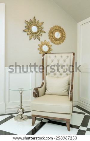 classic wooden chair style in living room at home - stock photo