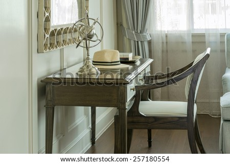 classic wooden chair with dressing table at home - stock photo