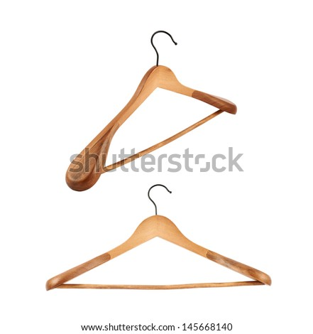 Classic wooden coat hanger isolated over white background, set of two foreshortenings - stock photo