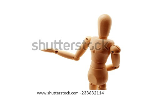 Classic wooden dummy in demonstrating pose isolated on white. - stock photo