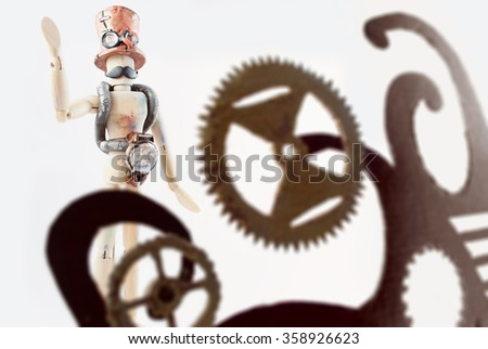Classic wooden dummy in steampunk world.