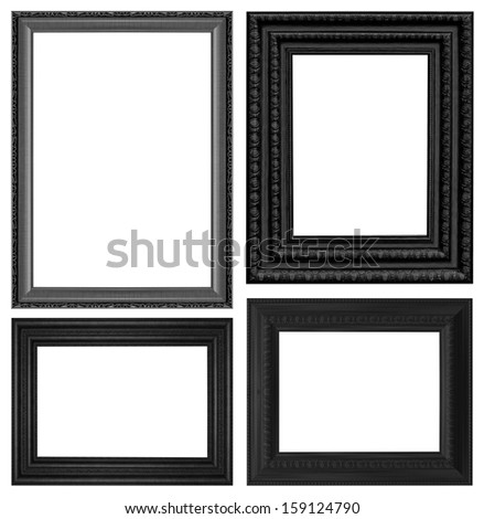 Classic wooden frame isolated on white background - stock photo