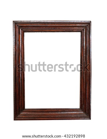 Classic wooden frame isolated on white background