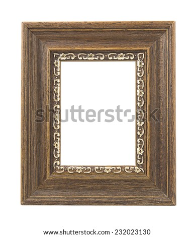 Classic wooden frame on white background - stock photo