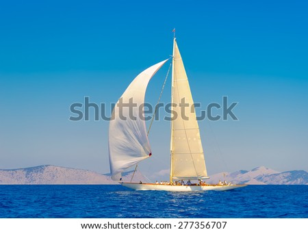 classic wooden sailing boat in a race, Spetses island in Greece