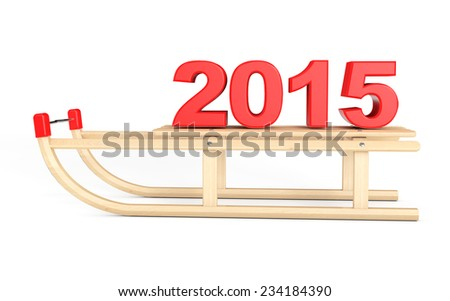 Classic Wooden Sled with 2015 New Year Sign on a white background - stock photo