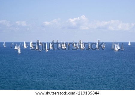 Classic yacht regatta - stock photo