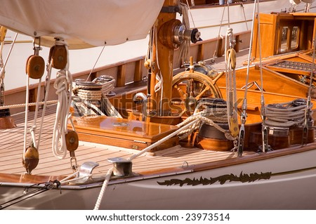 Classic Yacht 2 - Teak Deck and Wheel - stock photo