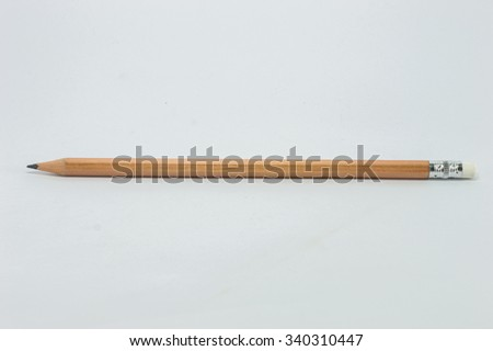 Classic yellow color Pencil with white rubber isolated on pure white background. This has clipping path.