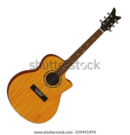 Classical acoustic guitar. Isolated. Illustraition. - stock photo