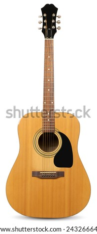 classical acoustic guitar isolated on a white background. clipping paths - stock photo