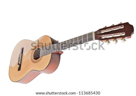 Classical acoustic guitar (isolated on white) - stock photo