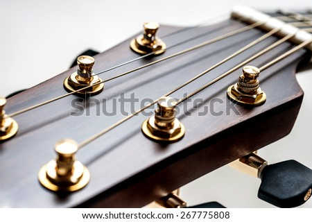 classical acoustic guitar on closeup - stock photo