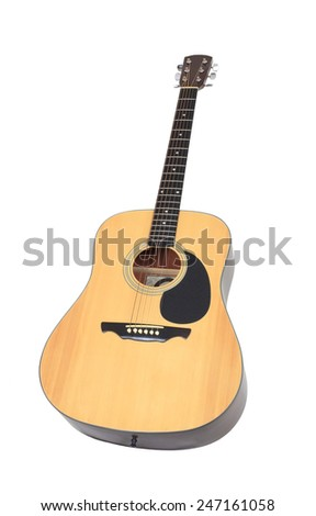 Classical Acoustical Guitar Isolated on White - stock photo