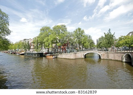 Classical Amsterdam view in the Netherlands - stock photo