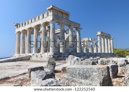 Classical ancient temple of Aphaea Athina at Aegina island in Greece. - stock photo
